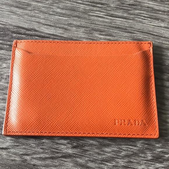 22d7cfadfbcb ... best price prada card holder beautiful orange fe56c d444d